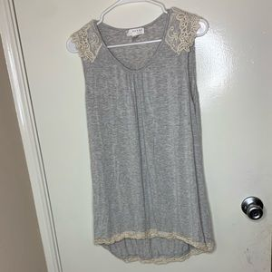 Grey with white lace tank top